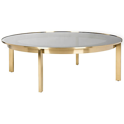 Clarissa Coffee Table, Polished Gold