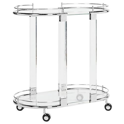 Lennon Bar Cart, Polished Silver