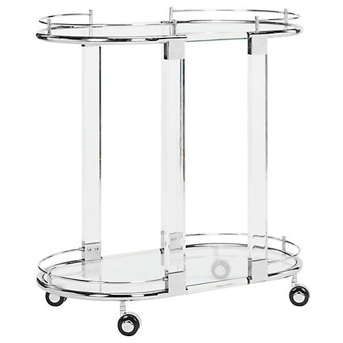 Lennon Bar Cart, Polished Silver