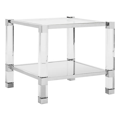 Angie Side Table, Polished Silver
