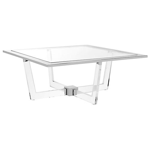 Hermina Coffee Table, Polished Silver