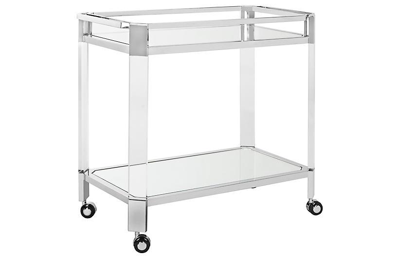 Lago Mirror Bar Cart, Polished Silver