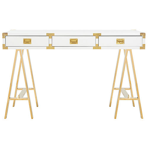 Jacob Writing Desk, White/Gold