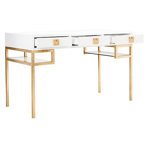 Neria Writing Desk, White/Gold