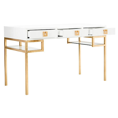 Neria Writing Desk, White/Gold