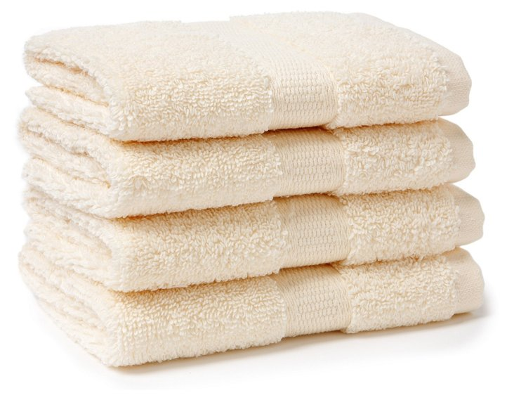 S/4 Candido Washcloths, Ivory
