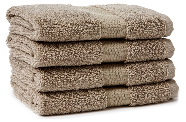 S/4 Candido Washcloths, Taupe