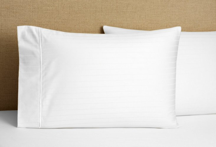 S/2 Regency Stripe Kg Pillowcases, White