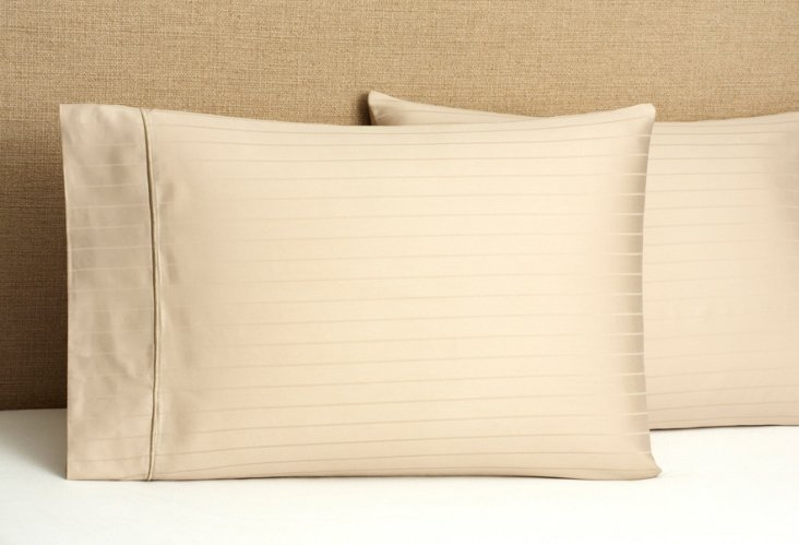 S/2 Regency Stripe Pillowcases, Taupe