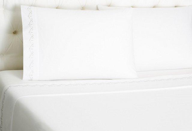 Sarah Sheet Set, White/Gray