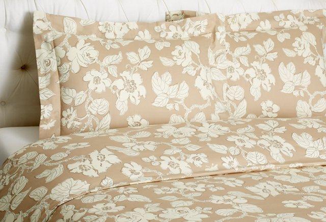 F/Q Floral Duvet Set, Taupe