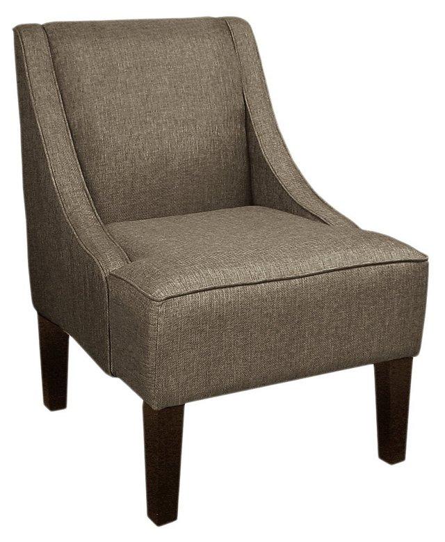 Fletcher Swoop-Arm Chair, Dark Pewter