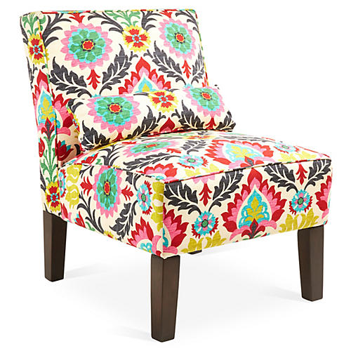 Bergman Armless Accent Chair, Pink/Yellow