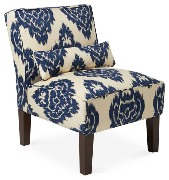 Bergman Armless Chair, Navy/Off-White
