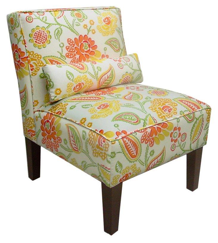 Bergman Armless Chair, Sherbet/Multi