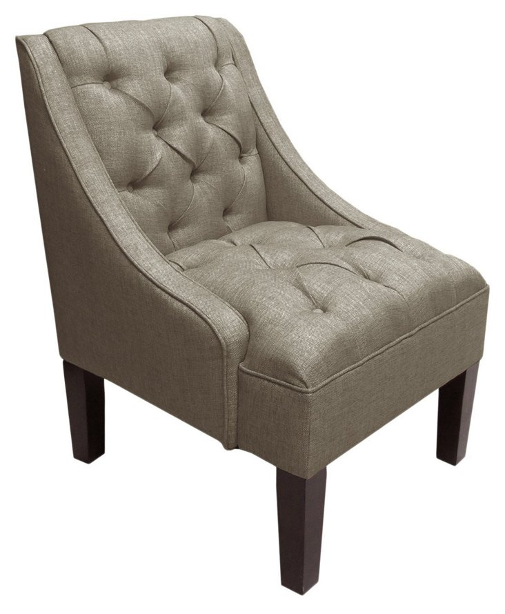 Isabelle Swoop-Arm Chair, Pewter
