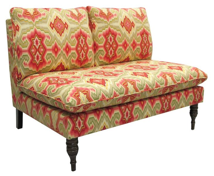 Bacall Armless Settee, Marigold/Red