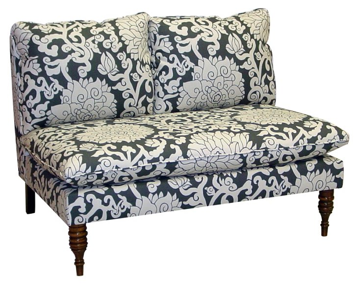 "Bacall 49"" Settee, Navy/White"