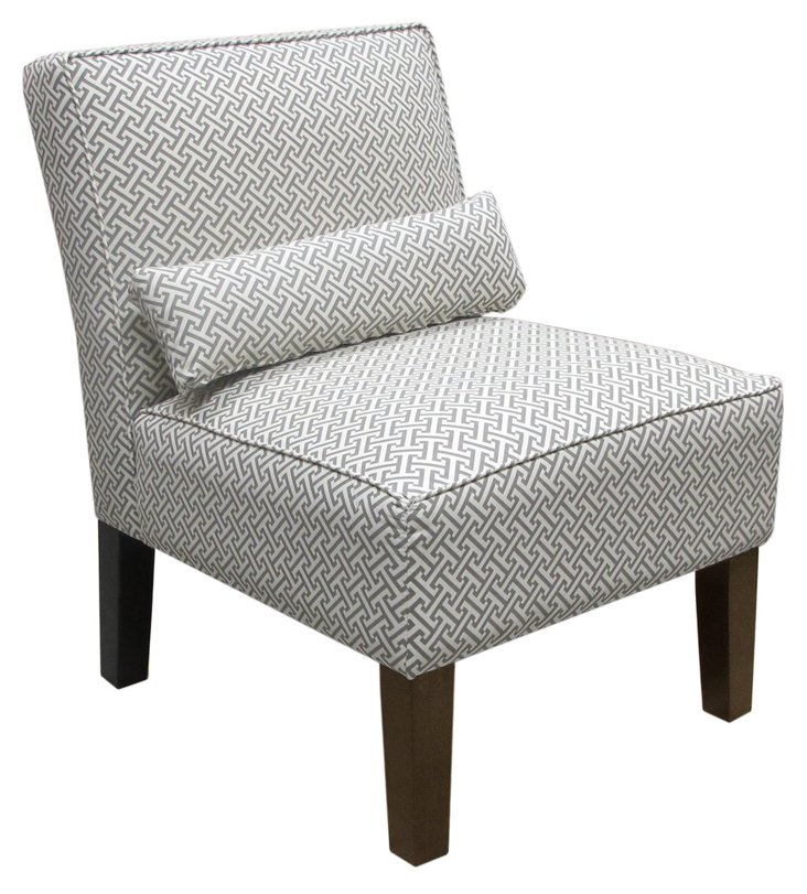 Bergman Armless Chair, Charcoal/White