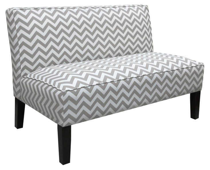 "Astor 50"" Armless Settee, Gray/White"