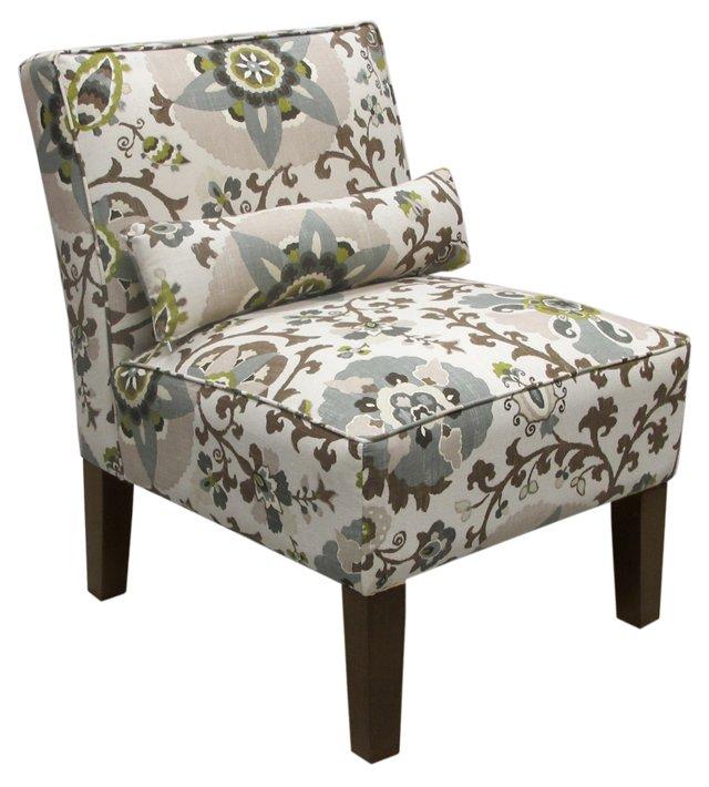 Bergman Armless Chair, Ivory/Chocolate