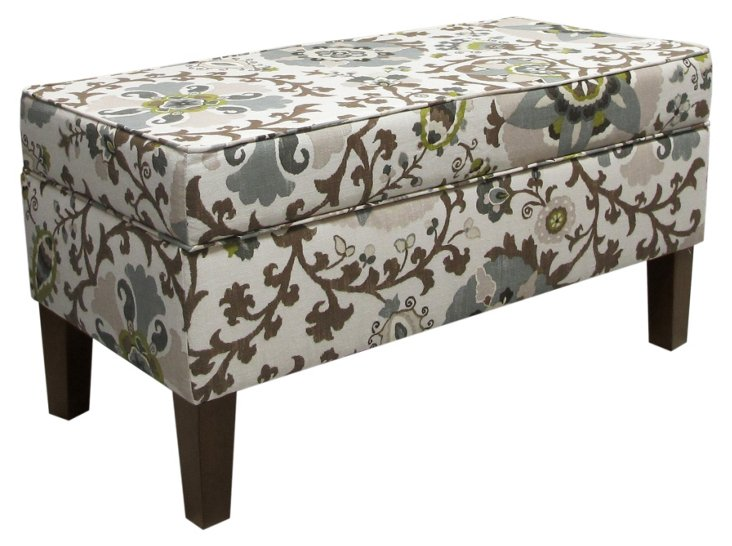 Breene Storage Bench, Ecru/Chocolate