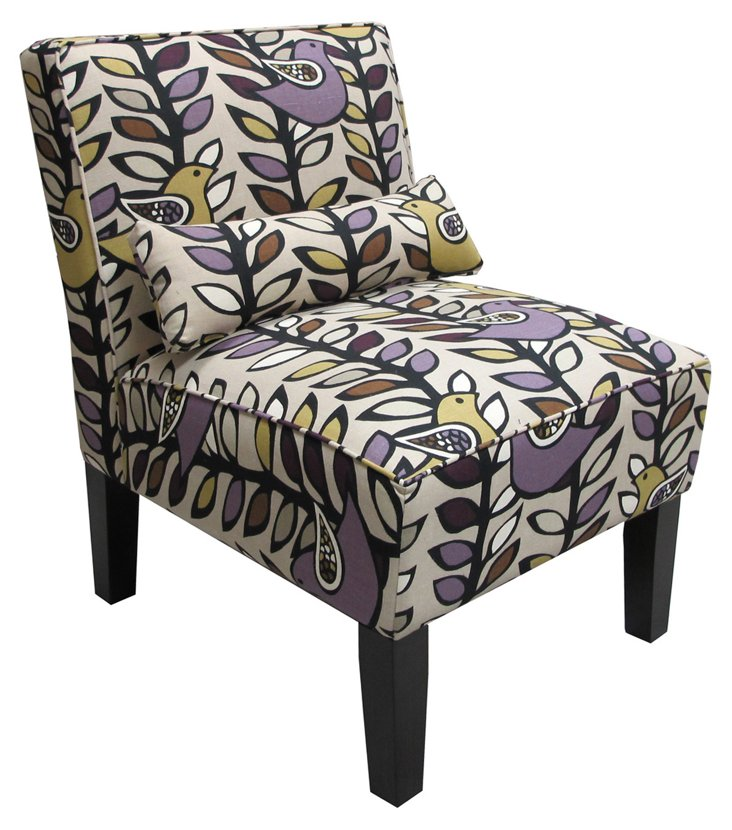 Bergman Armless Chair, Amethyst/Multi