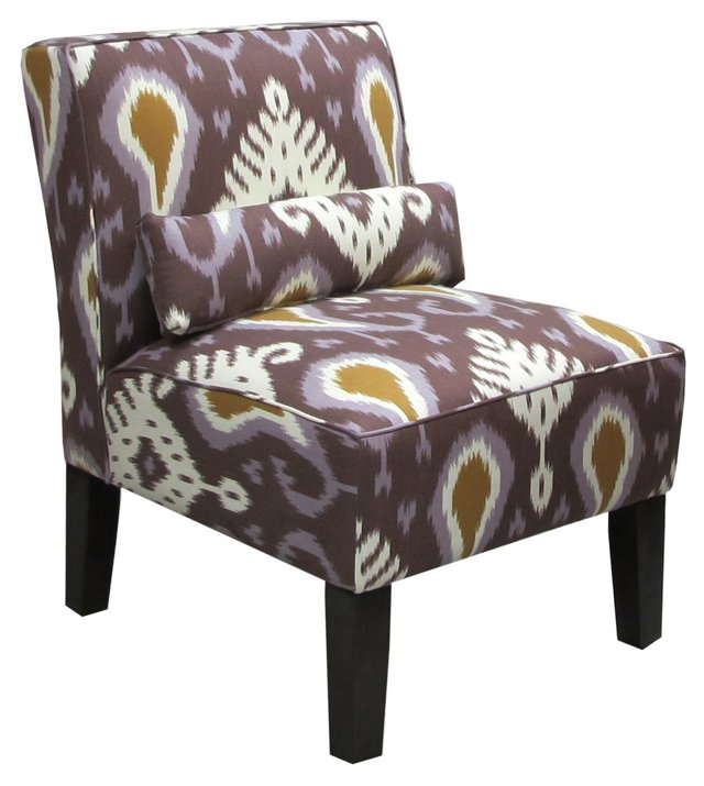 Bergman Cotton Ikat Chair, Amethyst