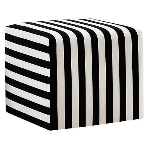 Baker Ottoman, Black/White Stripe