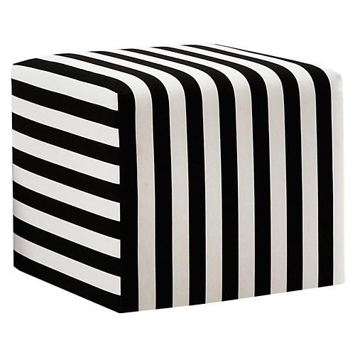 Baker Ottoman, Black/White Stripe