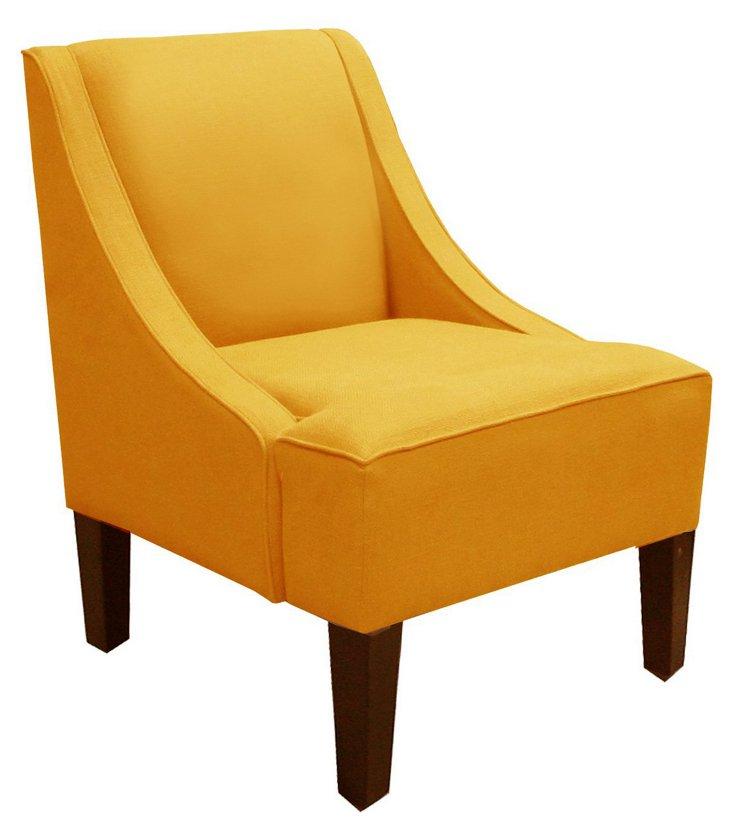 Fletcher Swoop-Arm Chair, Yellow