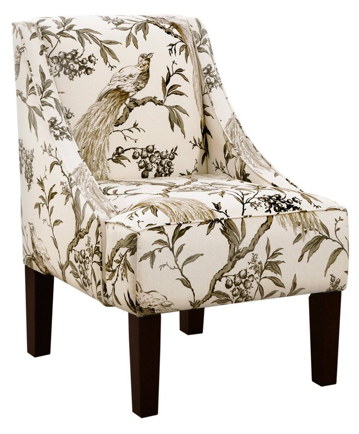 Fletcher Swoop-Arm Chair, Sepia/Ivory