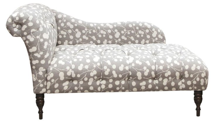 Francis Single Arm Chaise, Gray/White
