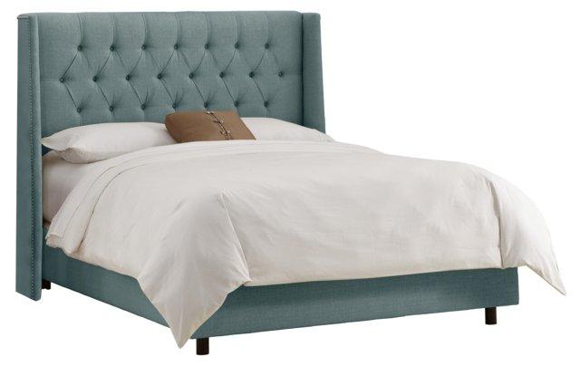 Alexander Wingback Bed, Slate Blue
