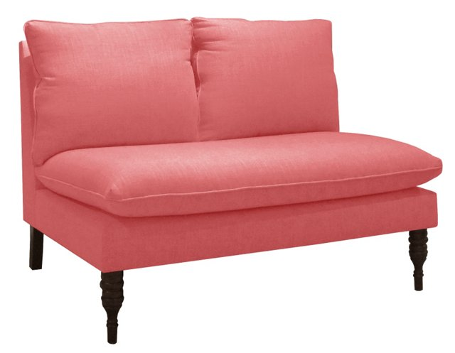 """Bacall 49"""" Settee, Coral Linen"""
