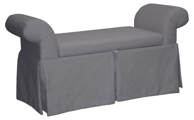 Mara Roll-Arm Storage Bench, Gray Twill