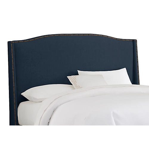 cole wingback headboard navy linen - Wingback Bed Frame