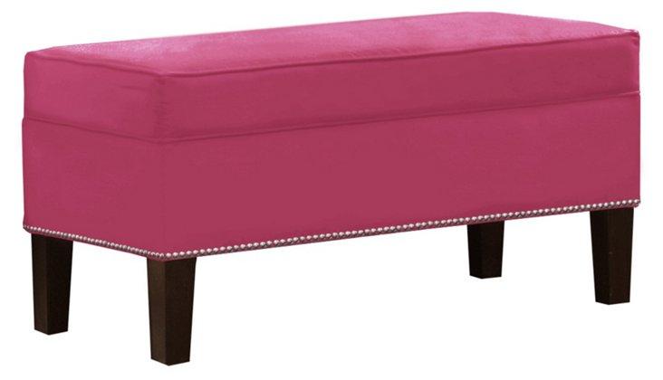Dunne Storage Bench, Pink Velvet
