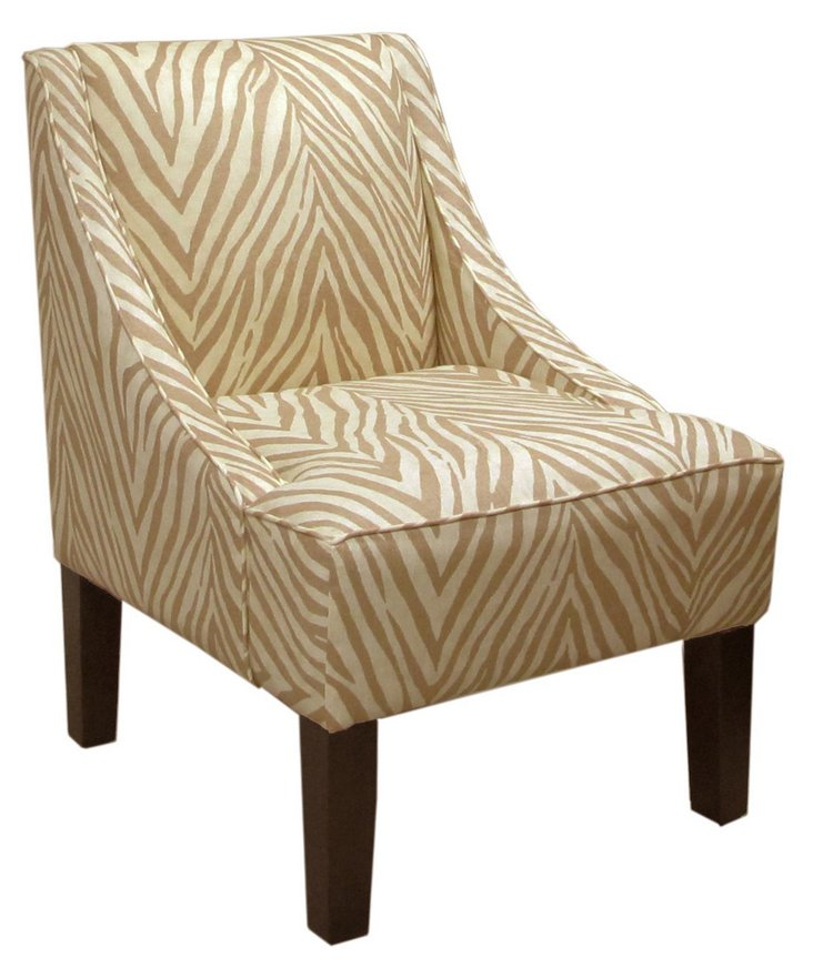 Fletcher Swoop-Arm Chair, Camel/Cream