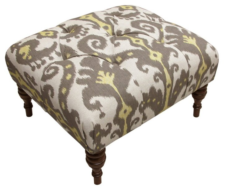 Boyd Tufted Ottoman, Gray/Cream Ikat