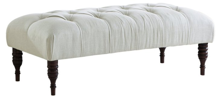 "Stanton 50"" Tufted Bench, White"