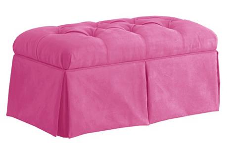 Olivia Tufted Storage Bench, Pink