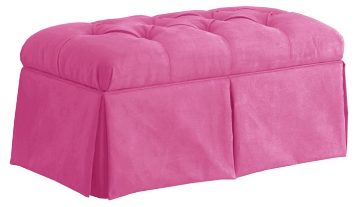 Olivia Tufted Storage Bench, Pink