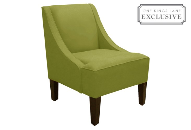 Fletcher Swoop-Arm Chair, Green