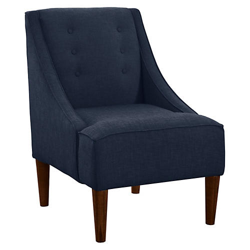 Quinn Swoop-Arm Chair, White Dot Linen