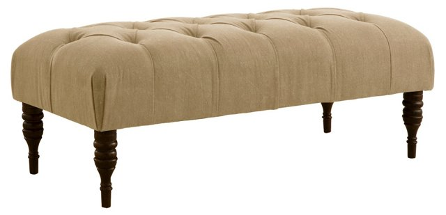"Stanton 50"" Tufted Bench, Sandstone"