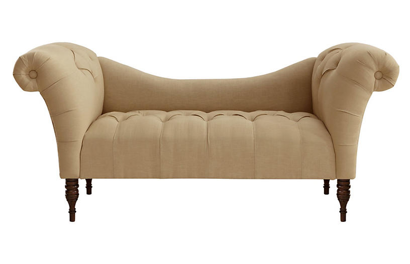 Cameron Tufted Chaise, Sand Linen