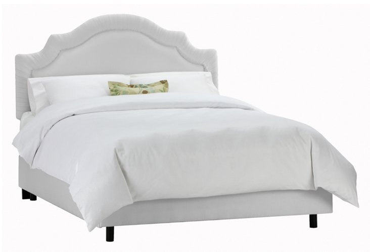 Marian Shirred Bed, Light Gray
