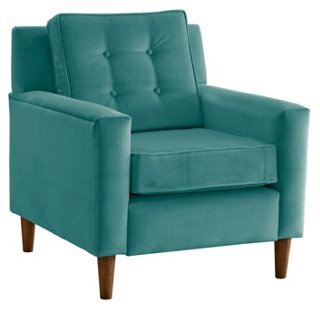 winston chair teal velvet accent chairs living room furniture one kings lane