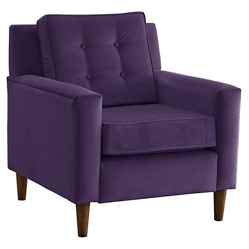 Winston Club Chair, Violet Velvet